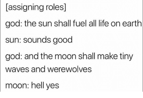 Good God: [assigning roles]  god: the sun shall fuel all life on earth  sun: sounds good  |god:  and the moon shall make tiny  Waves and werewolves  moon: hell yes