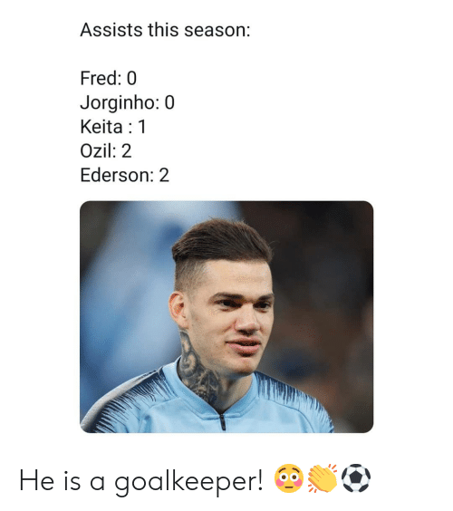 Memes, 🤖, and Fred: Assists this season:  Fred: 0  Jorginho:0  Keita:1  Ozil: 2  Ederson: 2 He is a goalkeeper! 😳👏⚽️