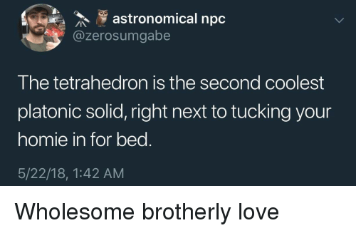 Homie, Love, and Wholesome: astronomical npc  @zerosumgabe  The tetrahedron is the second coolest  platonic solid, right next to tucking your  homie in for bed  5/22/18, 1:42 AM Wholesome brotherly love