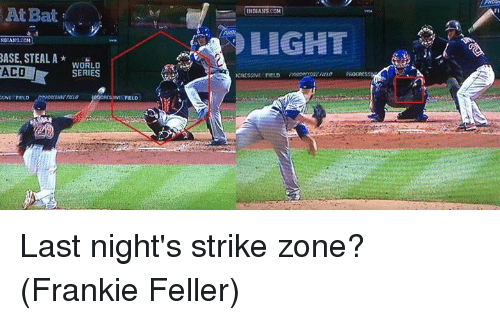 Mlb, World, and Com: At Bat  NDIANS.COM  BASE, STEAL A  WORLD  ACO  SERIES  SSIVE FIELD  FIELD  INDIANISCOH  LIGHT Last night's strike zone?  (Frankie Feller)