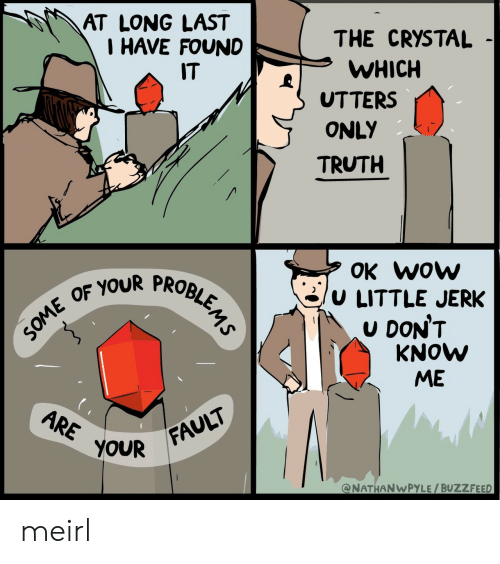 Wow, Buzzfeed, and Truth: AT LONG LAST  I HAVE FOUND  THE CRYSTAL  WHICH  UTTERS  ONLY  TRUTH  IT  OK wow  /u LITTLE JERK  U DON'T  OF YOUR PROBI  KNOW  ME  OUR FAULT  @NATHANWPYLE/BUZZFEED meirl