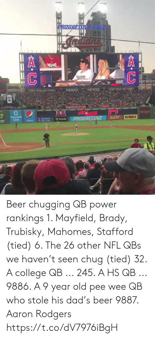 rankings: at  PROGRESSIVE HELD  NDANS  NOCD  START DEAD BATTERIES  START DEAD BAITERIES  NOco  ile  ANGE TALS  PROGRESSIVE  meijer  Cleveland  Clinic  BASTER  DEWALY  SnWIN  WLLIAM  pepsi  AC Beer chugging QB power rankings   1. Mayfield, Brady, Trubisky, Mahomes, Stafford (tied)  6. The 26 other NFL QBs we haven't seen chug (tied) 32. A college QB ... 245. A HS QB ... 9886. A 9 year old pee wee QB who stole his dad's beer 9887. Aaron Rodgers https://t.co/dV7976iBgH