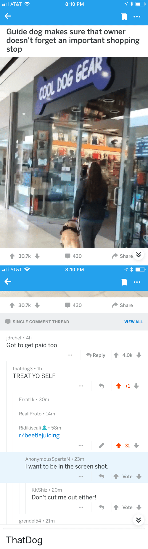 Treat Yo Self: AT&T  8:10 PM  Guide dog makes sure that owner  doesn't forget an important shopping  stop  30.7k  430  ShareV   AT&T  8:10 PM  30.7k  430  Share  SINGLE COMMENT THREAD  VIEW ALL  jdrchef 4h  Got to get paid too  Reply ↑ 4.0k  thatdog3 1h  TREAT YO SELF  +1  Erratlk 30m  ReallProto 14m  Ridikiscali58m  r/beetlejuicing  AnonymousSpartaN 23m  I want to be in the screen shot  ↑ Vote  KKShiz 20m  Don't cut me out either!  ↑ Vote  grendel54 21m ThatDog