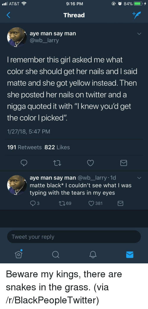 """quoted: AT&T  9:16 PM  Thread  aye man say man  @wb larry  I remember this girl asked me what  color she should get her nails andI said  matte and she got yellow instead. Then  she posted her nails on twitter and a  nigga quoted it with """"I knew vou'd get  the color I picked""""  1/27/18, 5:47 PM  191 Retweets 822 Likes  aye man say man @wb_larry. 1d  matte black* I couldn't see what I was  ytyping with the tears in my eyes  ロ69  381  Tweet your reply <p>Beware my kings, there are snakes in the grass. (via /r/BlackPeopleTwitter)</p>"""