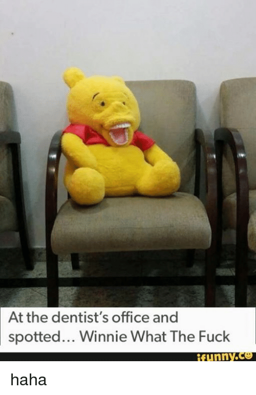 winny: At the dentist's office and  spotted... Winnie What The Fuck  funny haha