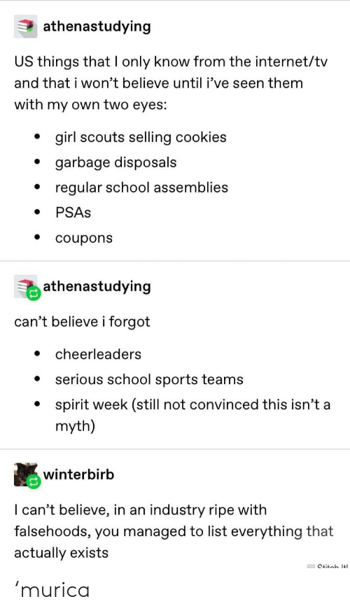 murica: athenastudying  US things that I only know from the internet/tv  and that i won't believe until i've seen them  with my own two eyes:  girl scouts selling cookies  garbage disposals  regular school assemblies  PSAS  coupons  athenastudying  can't believe i forgot  cheerleaders  serious school sports teams  spirit week (still not convinced this isn't a  myth)  winterbirb  I can't believe, in an industry ripe with  falsehoods, you managed to list everything that  actually exists  Ctitob It 'murica