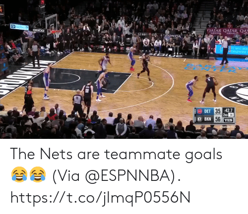 tar: ATR TAR  FI WILL RO  DET 35  BKN  42.7  14  et The Nets are teammate goals😂😂  (Via @ESPNNBA).  https://t.co/jImqP0556N