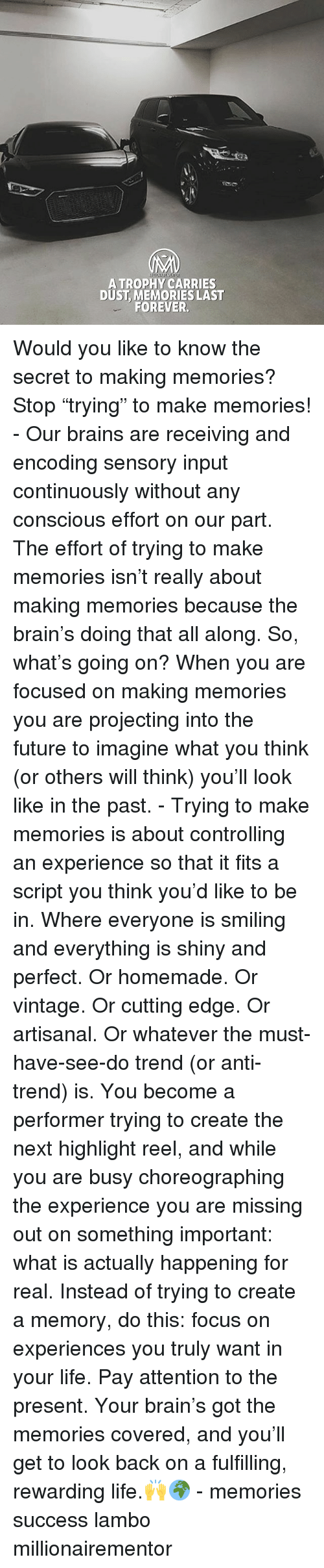 "Conscious Effort: ATROPHY CARRIES  DUST, MEMORIES LAST  FOREVER. Would you like to know the secret to making memories? Stop ""trying"" to make memories! - Our brains are receiving and encoding sensory input continuously without any conscious effort on our part. The effort of trying to make memories isn't really about making memories because the brain's doing that all along. So, what's going on? When you are focused on making memories you are projecting into the future to imagine what you think (or others will think) you'll look like in the past. - Trying to make memories is about controlling an experience so that it fits a script you think you'd like to be in. Where everyone is smiling and everything is shiny and perfect. Or homemade. Or vintage. Or cutting edge. Or artisanal. Or whatever the must-have-see-do trend (or anti-trend) is. You become a performer trying to create the next highlight reel, and while you are busy choreographing the experience you are missing out on something important: what is actually happening for real. Instead of trying to create a memory, do this: focus on experiences you truly want in your life. Pay attention to the present. Your brain's got the memories covered, and you'll get to look back on a fulfilling, rewarding life.🙌🌍 - memories success lambo millionairementor"