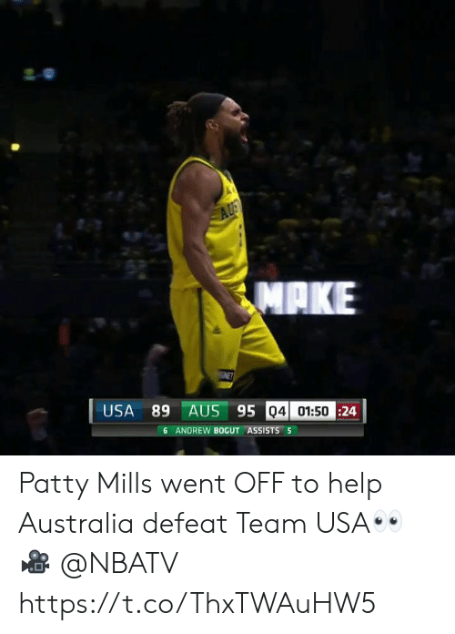 Andrew Bogut: AUS  ΜΑΚΕ  ENET  USA 89 AUS 95 04 01:5024  6 ANDREW BOGUT ASSISTS 5 Patty Mills went OFF to help Australia defeat Team USA👀  🎥 @NBATV  https://t.co/ThxTWAuHW5