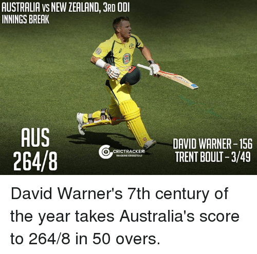 Memes, Australia, and 🤖: AUSTRALIA VS NEWLEALAND, 3RD ODI  INNINGS BREAK  AUS  GO RICTRACKER  264/8  TRACKING CRICKET247  DAVID WARNER-156  TRENT BOULT -3/49 David Warner's 7th century of the year takes Australia's score to 264/8 in 50 overs.