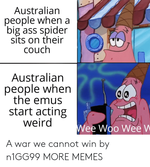 Ass, Dank, and Memes: Australian  people when a  big ass spider  sits on their  couch  Australian  people when  the emus  start acting  weird  Wee Woo Wee W A war we cannot win by n1GG99 MORE MEMES