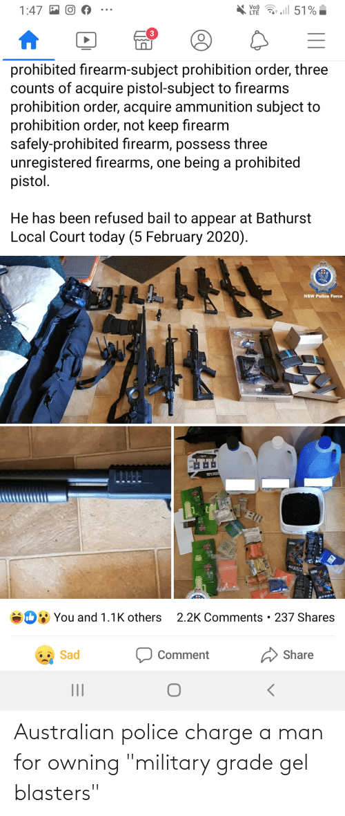 """Military Grade: Australian police charge a man for owning """"military grade gel blasters"""""""
