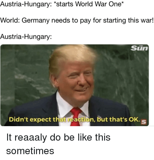 Be Like, Germany, and World: Austria-Hungary: *starts World War One*  World: Germany needs to pay for starting this war!  Austria-Hungary:  Sün  Didn't expect that reaction, but that's OK. s It reaaaly do be like this sometimes