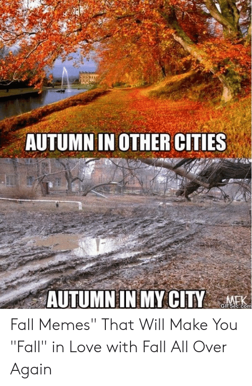 "Fall Meme: AUTUMN IN OTHER CITIES  AUTUMN IN MY CITY  GIFSec.com Fall Memes"" That Will Make You ""Fall"" in Love with Fall All Over Again"