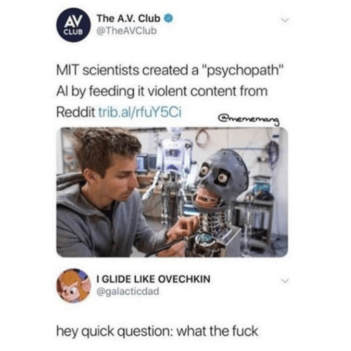 """The A: AV The A.V. Club  CLUB @TheAVClub  MIT scientists created a """"psychopath""""  Al by feeding it violent content from  Reddit trib.al/rfuY5Ci  mememang  I GLIDE LIKE OVECHKIN  @galacticdad  hey quick question: what the fuck"""