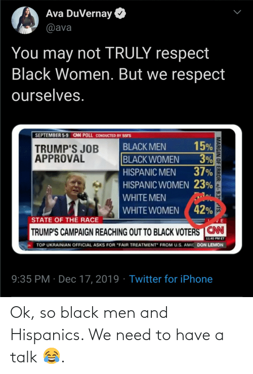 "job: Ava DuVernay  @ava  You may not TRULY respect  Black Women. But we respect  ourselves.  SEPTEMBER 5-9 CAN POLL CONDUCTED BY SSIS  15%  3%  37%  BLACK MEN  TRUMP'S JOB  APPROVAL  BLACK WOMEN  HISPANIC MEN  HISPANIC WOMEN 23%  WHITE MEN  WHITE WOMEN ( 42%  STATE OF THE RACE  TRUMP'S CAMPAIGN REACHING OUT TO BLACK VOTERS CN  11:40 PM ET  TOP UKRAINIAN OFFICIAL ASKS FOR ""FAIR TREATMENT"" FROM U.S. AMIC DON LEMON  9:35 PM · Dec 17, 2019 · Twitter for iPhone  MARGIN OF ERROR: +/-9.3° TS. Ok, so black men and Hispanics. We need to have a talk 😂."