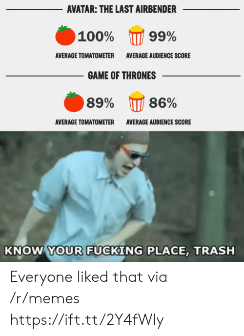 The Last Airbender: AVATAR: THE LAST AIRBENDER  100%  99%  AVERAGE TOMATOMETER  AVERAGE AUDIENCE SCORE  GAME OF THRONES  86%  89%  ΑVERAGE TOMΑΤΟΜΕΤER  AVERAGE AUDIENCE SCORE  KNOW YOUR FUCKING PLACE, TRASH Everyone liked that via /r/memes https://ift.tt/2Y4fWIy