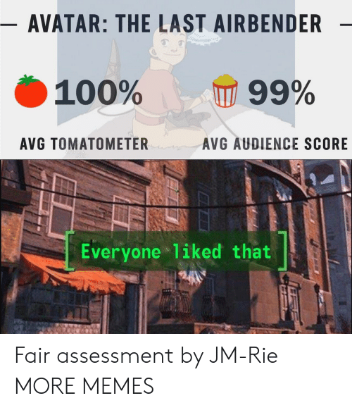 The Last Airbender: - AVATAR: THE LAST AIRBENDER  100%  99%  AVG TOMATOMETER  AVG AUDIENCE SCORE  Everyone liked that Fair assessment by JM-Rie MORE MEMES