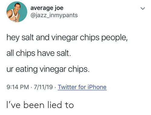 7/11, Iphone, and Twitter: average joe  @jazz_inmypants  hey salt and vinegar chips people,  all chips have salt.  ur eating vinegar chips.  9:14 PM 7/11/19 Twitter for iPhone I've been lied to