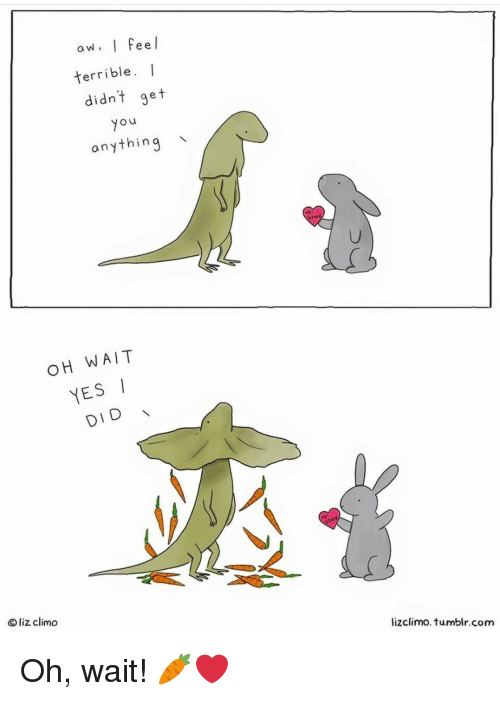 Yesis: aw. I Feel  terrible. I  didnt get  yo  anything  OH WAIT  YESI  DID  O liz climo  lizclimo. tumblr.com Oh, wait! 🥕❤