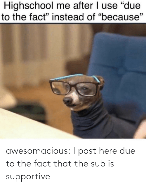 Due: awesomacious:  I post here due to the fact that the sub is supportive