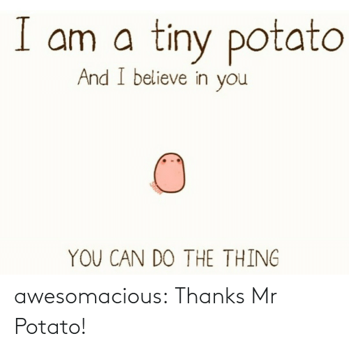 Potato: awesomacious:  Thanks Mr Potato!