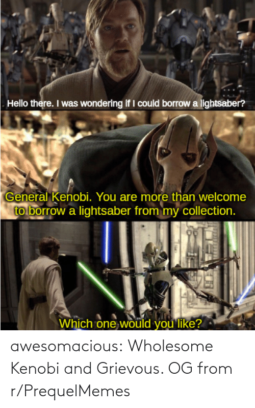 Tumblr, Blog, and Wholesome: awesomacious:  Wholesome Kenobi and Grievous. OG from r/PrequelMemes