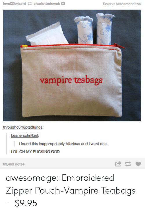 pouch: awesomage:  Embroidered Zipper Pouch-Vampire Teabags -  $9.95
