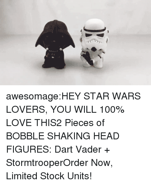 Stormtrooper: awesomage:HEY STAR WARS LOVERS, YOU WILL 100% LOVE THIS2 Pieces of BOBBLE SHAKING HEAD FIGURES: Dart Vader + StormtrooperOrder Now, Limited Stock Units!