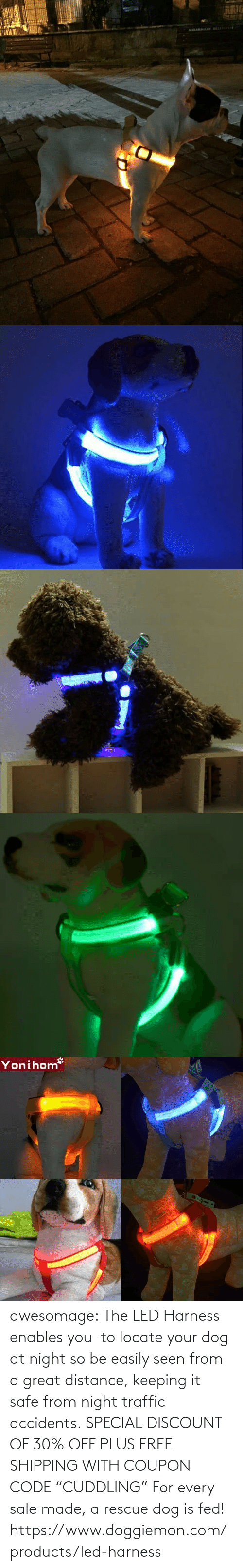 "seen: awesomage:   The LED Harness enables you  to locate your dog at night so be easily seen from a great distance, keeping it safe from night traffic accidents. SPECIAL DISCOUNT OF 30% OFF PLUS FREE SHIPPING WITH COUPON CODE ""CUDDLING"" For every sale made, a rescue dog is fed!   https://www.doggiemon.com/products/led-harness"