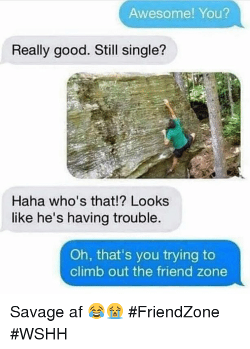 Friendzoning: Awesome! You?  Really good. Still single?  Haha who's that!? Looks  like he's having trouble.  Oh, that's you trying to  climb out the friend zone Savage af 😂😭 #FriendZone #WSHH