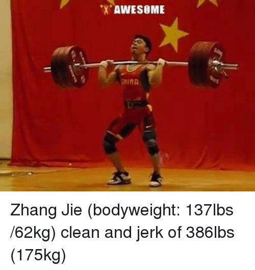 Zhang: AWESOME Zhang Jie (bodyweight: 137lbs /62kg) clean and jerk of 386lbs (175kg)