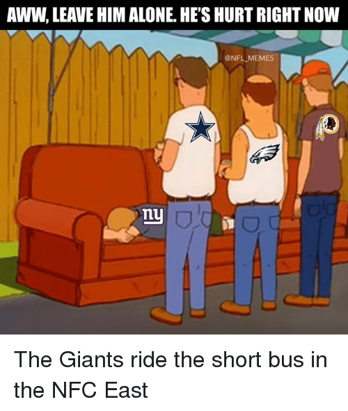 Being Alone, Aww, and Memes: AWW, LEAVE HIM ALONE. HE'S HURT RIGHT NOW  @NFL MEMES  nu The Giants ride the short bus in the NFC East