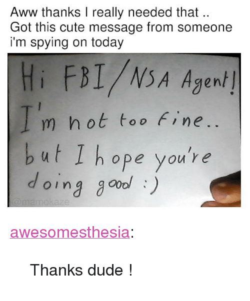 "Oing: Aww thanks I really needed that  Got this cute message from someone  i'm spying on today  Hi FBI/NSA Agen/  m hot too Fine  but I hope you're  oing go) <p><a href=""http://awesomesthesia.tumblr.com/post/173576197324/thanks-dude"" class=""tumblr_blog"">awesomesthesia</a>:</p>  <blockquote><p>Thanks dude !</p></blockquote>"
