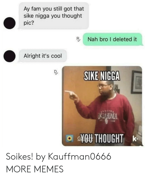 Dank, Fam, and Memes: Ay fam you still got that  sike nigga you thought  pic?  R  Nah bro I deleted it  Alright it's cool  SIKE NIGGA  o YOU THOUGHT k Soikes! by Kauffman0666 MORE MEMES