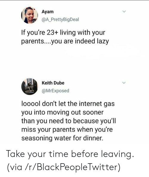 Blackpeopletwitter, Internet, and Lazy: Ayam  @A_PrettyBigDeal  If you're 23+ living with your  parent....you are indeed lazy  Keith Dube  @MrExposed  looool don't let the internet gas  you into moving out sooner  than you need to because you'l  miss your parents when you're  seasoning water for dinner. Take your time before leaving. (via /r/BlackPeopleTwitter)
