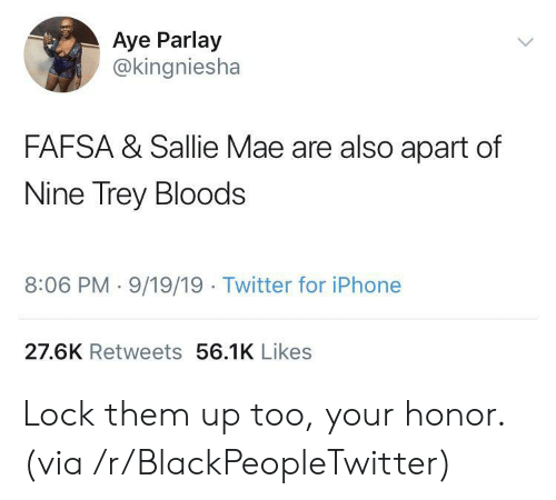 aye: Aye Parlay  @kingniesha  FAFSA & Sallie Mae are also apart of  Nine Trey Bloods  8:06 PM 9/19/19 Twitter for iPhone  27.6K Retweets 56.1K Likes Lock them up too, your honor. (via /r/BlackPeopleTwitter)