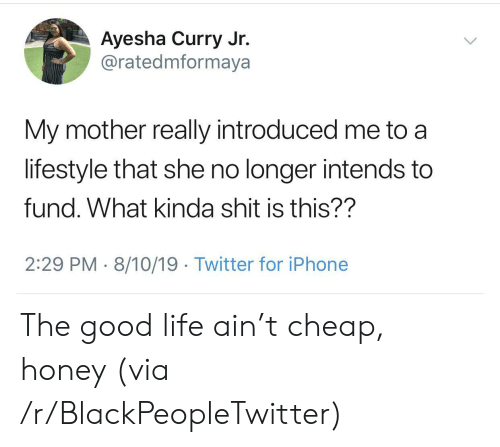 Ayesha Curry, Blackpeopletwitter, and Iphone: Ayesha Curry Jr.  @ratedmformaya  My mother really introduced me to  lifestyle that she no longer intends to  fund. What kinda shit is this??  2:29 PM 8/10/19. Twitter for iPhone The good life ain't cheap, honey (via /r/BlackPeopleTwitter)