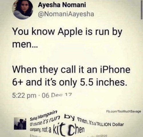 Apple, Iphone, and Run: Ayesha Nomani  @NomaniAayesha  You know Apple is run by  men...  When they call it an iPhone  6+ and it's only 5.5 inches.  5:22 pm 06 Dec 17  Sha Mamgain  Of course it's r men. It's TRILL ION Dollar  Fb.com/fooMuchSavage  Chen  uesage