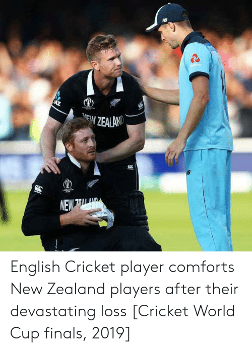 cricket world cup: AZ  ו  ר>C  7ב  ר  ייץיD English Cricket player comforts New Zealand players after their devastating loss [Cricket World Cup finals, 2019]
