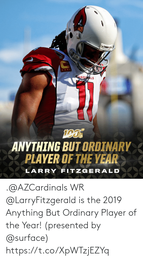 year: .@AZCardinals WR @LarryFitzgerald is the 2019 Anything But Ordinary Player of the Year!  (presented by @surface) https://t.co/XpWTzjEZYq