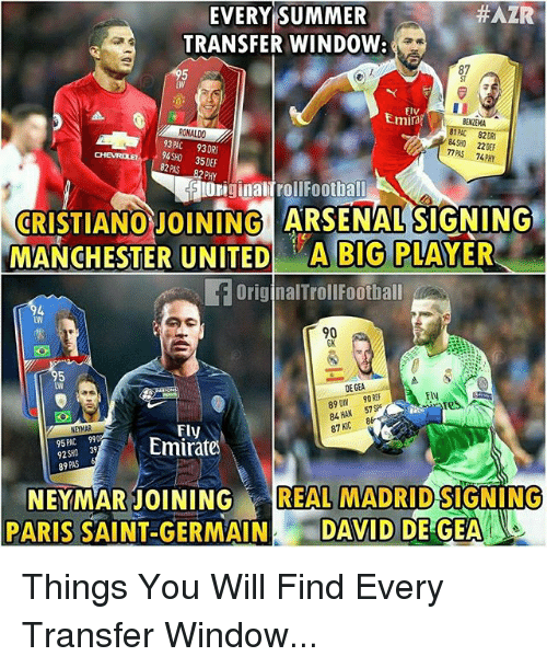 Geas:  #AZR  EVERY SUMMER  TRANSFER WINDOW:  87  ST  LW  Flv  Emira  BENZEMA  ROKALDO  93PAC 93DR  94SHO 35DEF  84SHO 22 DEF  77 PAS 74PHY  82 PAS  82PHY  lOriginalifrollFootball  CRISTIANO JOINING ARSENAL SIGNING  MANCHESTER UNITED A BIG PLAYER  OriginalTrollFoothall  90  GK  LW  DE GEA  FlN  89 DN 90 RE  84 HAN 57SP  87 KC  0  Fly  EYMAR  95PAC 99  92SHO 39  89  Emirate  REAL MADRID  NEYMARJOINING SIGNING  PARIS SAINT GERMAINDAVID DE GEA Things You Will Find Every Transfer Window...