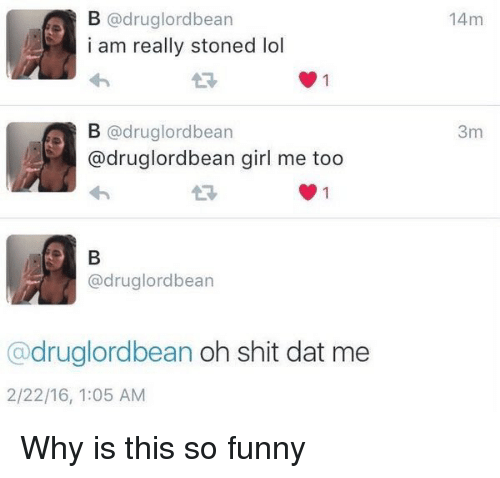 Drugs, Funny, and Girls: B drug lord bean  i am really stoned lol  B rug lordbean  adruglordbean girl me too  drug lordbean  @druglordbean oh shit dat me  2/22/16, 1:05 AM  14m  3m Why is this so funny