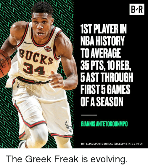 antetokounmpo: B R  1ST PLAYERIN  NBA HISTORY  TO AVERAGE  35PTS, 10 REEB,  5AST THROUGH  FIRST 5 GAMES  OF A SEASON  BUCKS  GIANNIS ANTETOKOUNMPO  H/T ELIAS SPORTS BUREAU (VIA ESPN STATS & INFO) The Greek Freak is evolving.