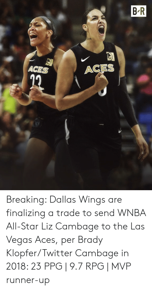Dallas: B R  ACES  ACES Breaking: Dallas Wings are finalizing a trade to send WNBA All-Star Liz Cambage to the Las Vegas Aces, per Brady Klopfer/Twitter  Cambage in 2018: 23 PPG | 9.7 RPG | MVP runner-up
