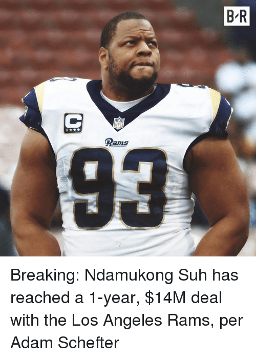 Los Angeles Rams, Los Angeles, and Rams: B-R  Dams  93 Breaking: Ndamukong Suh has reached a 1-year, $14M deal with the Los Angeles Rams, per Adam Schefter