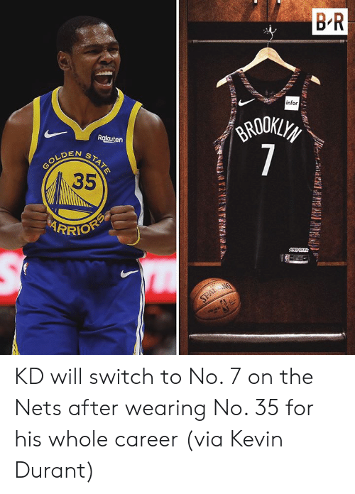 durant: B R  infor  GRODKLYS  7  Rakuten  N  GOLDENSTATE  35  RRIOFP  AREDS  SPALANG KD will switch to No. 7 on the Nets after wearing No. 35 for his whole career  (via Kevin Durant)