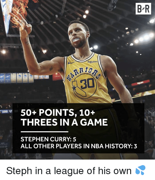 Stephen Curry: B R  Rakuten  50+ POINTS, 10+  THREES IN A GAME  200ザ  STEPHEN CURRY: 5  ALL OTHER PLAYERS IN NBA HISTORY: 3 Steph in a league of his own 💦