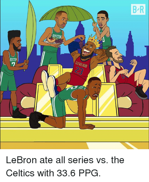 Celtics, Cleveland, and Lebron: B R  ROCTON  CLEVELAND  BOSTO LeBron ate all series vs. the Celtics with 33.6 PPG.