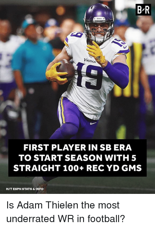 Anaconda, Espn, and Football: B-R  VII  I KİnGs  FIRST PLAYER IN SB ERA  TO START SEASON WITH 5  STRAIGHT 100+ REC YD GMS  HIT ESPN STATS & INFO Is Adam Thielen the most underrated WR in football?